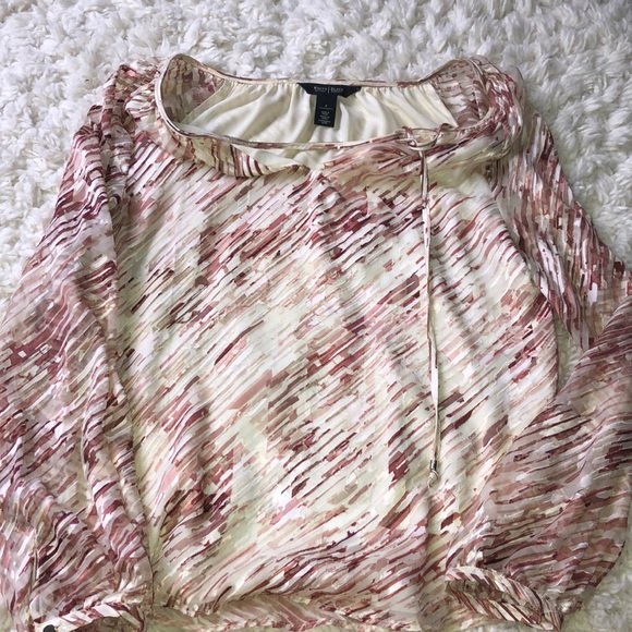 White House Black Market Tops - Pink and White Flowy Blouse